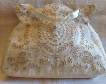 Exquisite Hand embroidered Cream Colored Organdy Purse