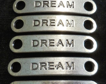 """6 - 1.5"""" Silver Dream Word Plate Charms"""