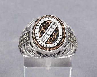 Turkish Handmade White Zircon Stone 925 Sterling Silver Men's Ring W/ Marcasite(n28-2b)