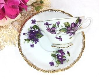 Purple Lilac Porcelain Tea Cup & Saucer Tea Set, Purple Violet Sprays Teaset for Tea Party, Wedding, Shower, Tea Time, Bridal, Gift #A697
