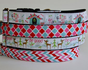 READY TO SHIP! Christmas Dog Collars Feliz Navi Dog, Be Good, Moroccan & Herringbone