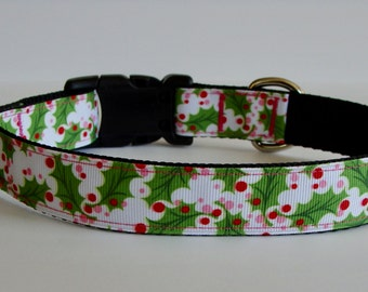 RADY TO SHIP! Christmas Dog Collar Mistletoe Holly Print