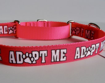 Pink ADOPT ME Martingale Dog Collar - Ready to Ship!