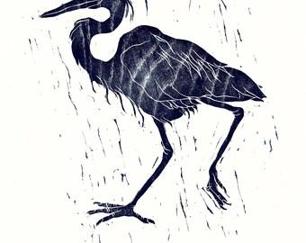 Heron woodcut,Japanese woodblock print, black, prussian blue, woodgrain, bird print, limited edition, printmaking, wood slice, wall art