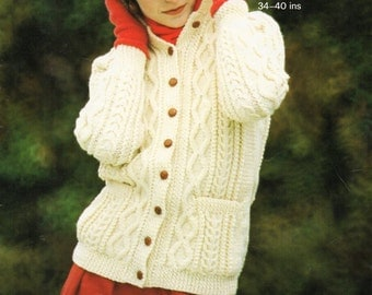 Vintage ladies aran jacket knitting pattern pdf womens cable collar cardigan 34-40 inch aran worsted 10ply Instant download