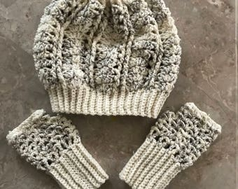 Slouchy Hat and Fingerless Gloves Set