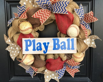 Baseball wreath, burlap wreath, baseball, chevron, play ball