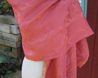 Vintage Silk Opera Shawl/ Silk Evening Shawl/ Salmon Silk Scarf w/ Gold Lining