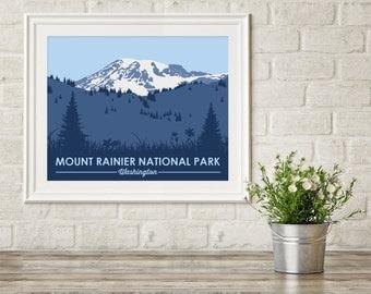 Mount Rainier National Park ~ National Park Prints ~ Mt Rainier ~ Mount Rainier Poster ~ National Park Art ~  Mt Rainier Art Print