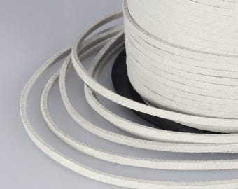 White Suede Cord, 3x1mm; Soft Micro Fiber Faux Leather Velvet Suede Flat Lace, Cord, Thread, String, Rope; 100 Yard; Jewelry Making
