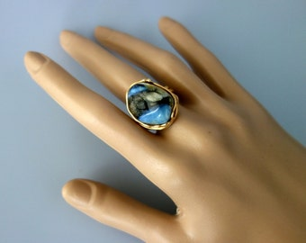 NATURAL blue BALTIC AMBER ring
