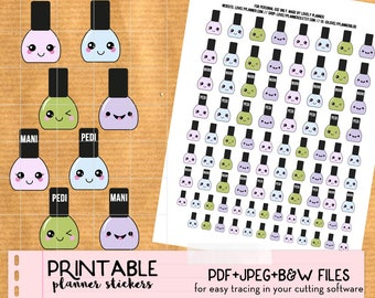 Kawaii Nail appointment Stickers set, manicure, pedicure - Printable Planner stickers, Print&Cut stickers for Happy Planner, Filofax, ECLP..