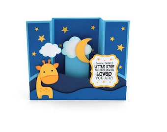 Baby Giraffe Pop Up 3D Card , New Born , Boy , Girl , Baby Shower , Gift , Unique , Keepsake , Stars , Clouds , Sky , Moon