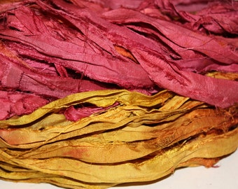 11-Silk Sari Ribbon, 5 Yards, 10 Yards, 25 Yards, Recycled Sari Ribbon, Summer Set, Golden Reddish, Deep Yellow, Deep Orange Hues