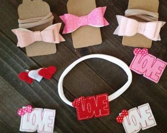 Valentine's heart bows headbands