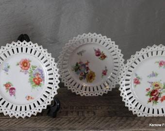 Set 6 Pierced China Floral Plates