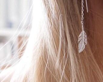 Long thin dangling earrings - Sterling Silver 925/000 - leaf silver earrings