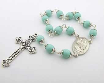 Catholic Rosary Beads with Saint Therese The Little Flower Centerpiece - Handmade One Decade Pocket Rosary Tenner - Catholic Gift