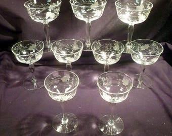 Set 7 Hand-Etched Ocular Crystal Wines Plus 2 Cordials, Elegant Glass