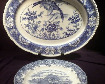 Two Large Ironstone Platters, Blue on White Transferware, Falcon and English Village