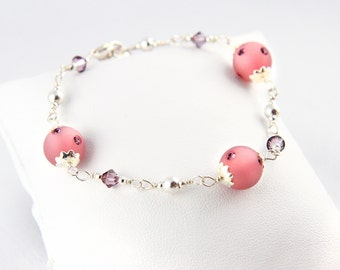 Wire Wrapping 925 Silver and Swarovski pink Crystal bracelet