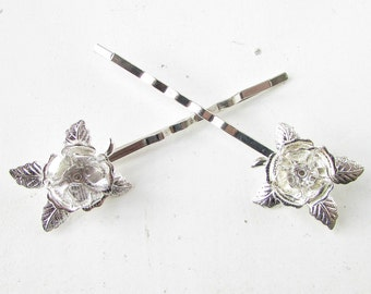 2x Silver Rose Flower Hair Clips Slides Bobby Pins Grips Bridesmaid Bridal 970