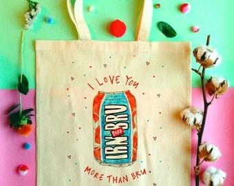 I Love You, More Than BRU Illustrated Tote Bag, Scottish Slang Cotton Shopper Bag, IRN BRU Tote Bag