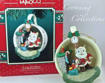 Enesco A Cup of Cheer Ornament Santa Mouse Cozy Cup Series Treasury of Christmas Teacup Vintage M. Gilmore Designs 10th in Series Final