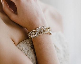Gold Wedding Bracelet   Crystal Bracelet   Crystal Bridal Bracelet   Rhinestone Cuff Bracelet   Gold Azalea Bracelet Cuff