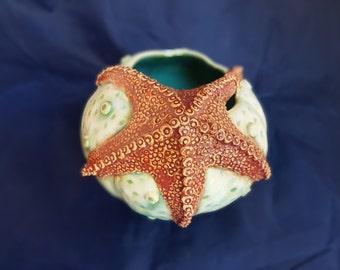 Sea urchin with starfish vase seafoam, white and red hand made ceramic