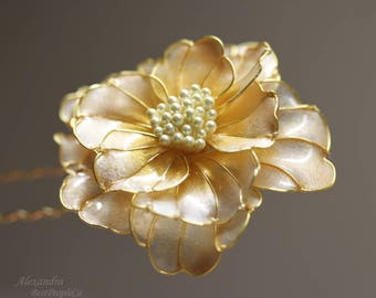 Hair Clip Pin  Creamy Peony Stick Kanzashi Resin Wedding Accessories OOAK Wire wrapped