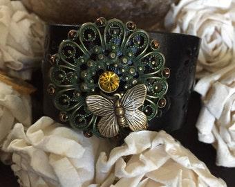Butterfly bracelet leather cuff, butterfly jewelry, butterfly gift, country bracelet, vegan leather