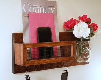 Mason Jar Vase- Mail Organizer- Key Rack-Red Mahogany Finish