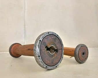 Industrial Wooden Spools / Vintage Wood and Metal Steampunk Bobbins / Candlestick Holder / Pair of Spools