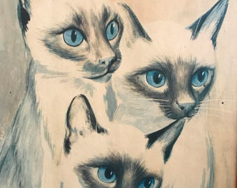 Vintage Cat Print / Siamese Cat Illustration Print