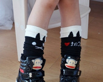Cat design girl's tube socks - black ( 1 to 8 years)