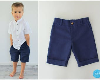 Young shorts of Bermuda ring bearer wedding outfit pants christening Festival clothing Blau Leinen