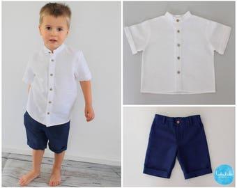 2-piece outfit: Bermuda Linen + White short-sleeved linen shirt-kids boys Taufanzug shorts ring strap wedding christening feast clothes