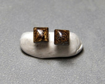 6mm Square Bronzite Gemstone Post Earrings with Sterling Silver