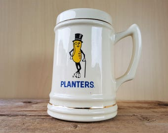 Very Rare Vintage 60s PLANTERS PEANUTS Mug Stein Promotional Collectible Mr. Peanut Ceramic 1 Liter Cup with Handle Made in USA