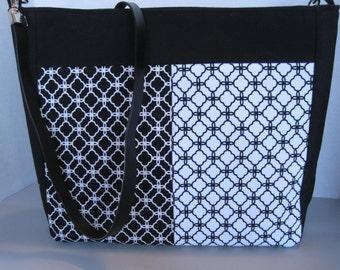 Crossbody, Handbag, Purse, Women's Accessories, Fabric, Handmade, Black & White Cotton