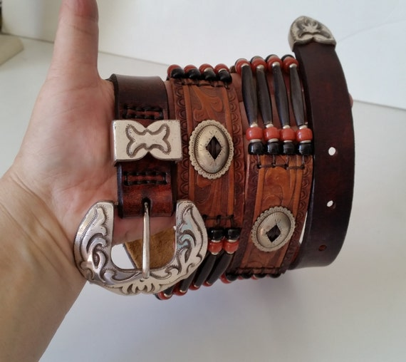 """Brown Leather HORN BEAD BELT with Silver Western Buckle, Conchos. Native American Style. Multistrand. Black Horn. For 39-43"""" Waist Size."""