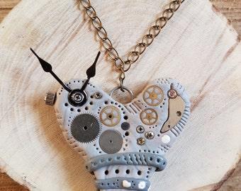 Handmade Polymer clay Steampunk grey loveheart necklace
