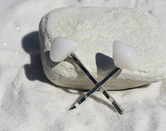 Snow Quartz Stone Hair Pins (Quantity of 2)
