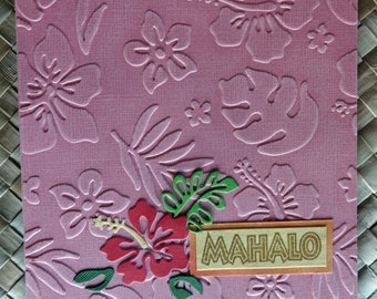 Hibiscus mahalo thank you card with embossed flowers background