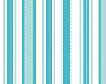 SALE 20% OFF Aqua and White Stripe Premium Cotton Fabric by The Quilted Fish for Riley Blake Fabrics