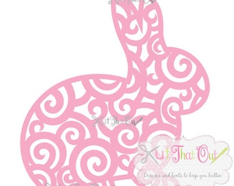 EXCLUSIVE Swirl Scroll Easter Bunny SVG and DXF File