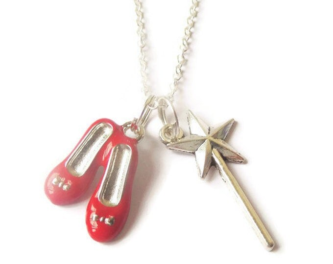 """WIZARD of OZ Red Shoes Wand inspired silver charm 20"""" necklace party bag favors dorothy fan gift xmas jewellery UK"""