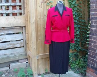 Vintage 1980 Fattaneh Bahari Designer Red and Black Peplum Dress Suit Office Size 10