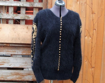 Vintage 1980's Ornella Black and Gold 70% Angora Button Down Cardigan Sweater with Gold Buttons Beautiful